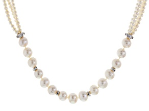 Cultured Freshwater Pearl, Diamond Simulant Rhodium Over Silver Necklace