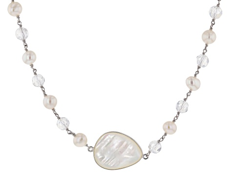 Cultured Freshwater Pearl, Mother-Of-Pearl Silver Endless Strand Necklace