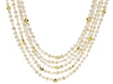 White Cultured Keshi Freshwater Pearl 18k Gold Over Silver Necklace 18 inch