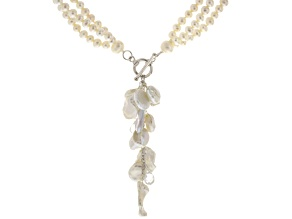 White Cultured Freshwater Pearl, Glass Sterling Silver Multi-Strand Necklace