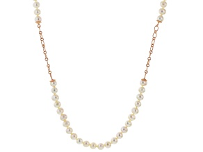 White Cultured Freshwater Pearl 18k Rose Gold Over Sterling Silver Station Necklace