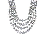 Silver Cultured Freshwater Pearl, Crystal Silver Multi-Strand Necklace