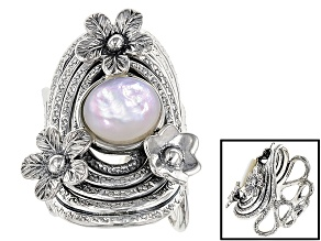 White Mother-Of-Pearl Rhodium Over Sterling Silver Floral Ring