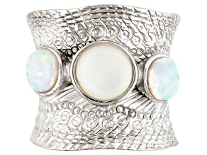 White Mother-Of-Pearl, Lab-Created Opal Rhodium Over Sterling Silver Ring