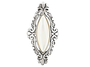 White Mother-Of-Pearl Rhodium Over Sterling Silver Filigree Marquise Ring