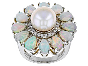White Cultured Freshwater Pearl, White Zircon, Opal Silver Ring