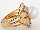 White Cultured Freshwater Pearl, Zircon, Opal 18k Yellow Gold Over Silver Ring