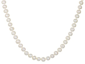 White Freshwater Pearl Rhodium Over Sterling Silver Necklace 9-10mm