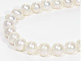 White Cultured Freshwater Pearl Rhodium Over Sterling Silver Necklace 9-10mm