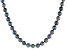 Black Cultured Freshwater Pearl Rhodium Over Sterling Silver Necklace 9-10mm