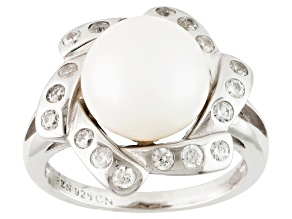 White Cultured Freshwater Pearl, Diamond Simulant Rhodium Over Silver Ring