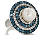 Cultured Freshwater Pearl, Blue Topaz And White Zircon Sterling Silver Ring