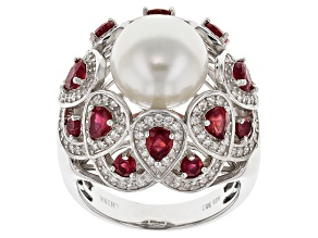 Cultured Freshwater Pearl With Ruby And Zircon Silver Ring