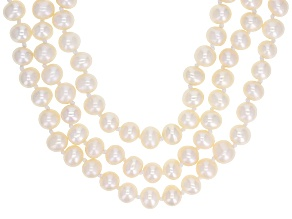 White Cultured Freshwater Pearl, Diamond Simulant Rhodium Over Silver Necklace