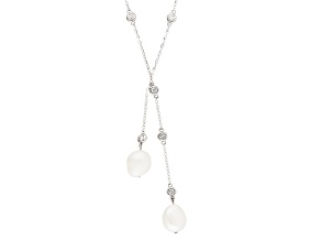 Cultured Freshwater Pearl With Diamond Simulant Rhodium Over Silver Necklace