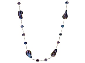 Black Cultured Freshwater Pearl Rhodium Over Silver Endless Strand Necklace