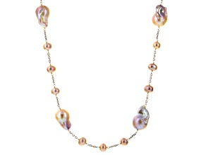 Cultured Freshwater Pearl Rhodium Over Silver Endless Strand Necklace