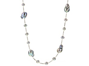 Silver Cultured Freshwater Pearl Rhodium Over Silver Endless Strand Necklace