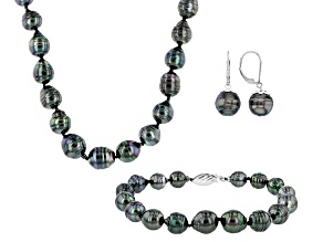 Cultured Tahitian Pearl Rhodium Over Silver Necklace, Bracelet, Earring Set