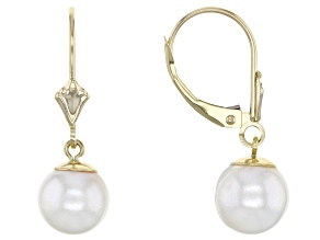 White Cultured Japanese Akoya Pearl 14k Yellow Gold Earrings 8-8.5mm