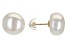 White Cultured Freshwater Pearls 10k Yellow Gold Stud Earrings 10-11mm