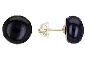 Peacock Cultured Freshwater Pearls 10k Yellow Gold Stud Earrings 10-11mm