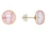 Pink Cultured Freshwater Pearls 10k Yellow Gold Stud Earrings 10-11mm
