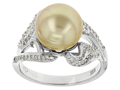 Cultured South Sea Pearl With White Topaz Rhodium Over Silver Ring 10-11mm