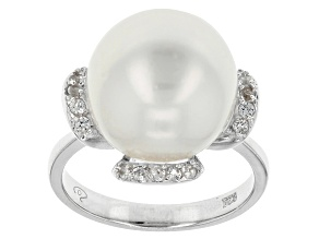 Cultured South Sea Pearl With White Topaz Rhodium Over Silver Ring 13mm