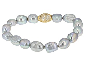 Cultured Freshwater Pearl With Diamond Simulant 18k Yellow Gold Over Silver Bracelet 9-11mm