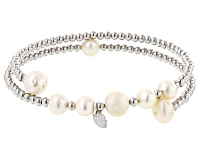Cultured Freshwater Pearl Rhodium Over Sterling Silver Wrap Bracelet 6-8mm