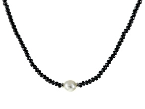 Cultured Freshwater Pearl Rhodium Over Silver Hematine Necklace 11-13mm