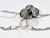 Circle Cultured Tahitian Pearl Rhodium Over Sterling Silver Necklace 9mm