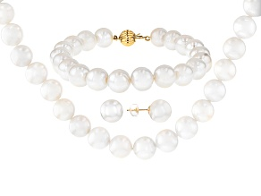Cultured Freshwater Pearl 14k Yellow Gold Necklace,Bracelet, Earrings Set