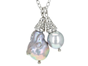 Cultured Freshwater Pearl With Diamond Simulant Rhodium Over Silver Pendant
