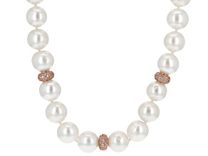 Cultured Freshwater Pearl 18 Rose Gold Over Silver Necklace 9-12mm