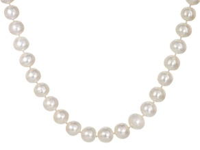 White Cultured Freshwater Pearl Rhodium Over Silver Strand Necklace 13-15mm