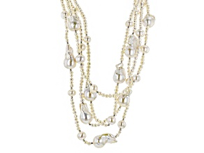 White Cultured Freshwater Pearl Rhodium Over Silver Multi-Strand Necklace