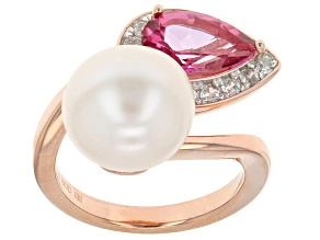 Cultured Freshwater Pearl With Topaz And Zircon 18k Rose Gold Over Silver Ring