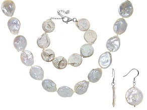 Cultured Freshwater Pearl Rhodium Over Silver Necklace, Bracelet, Earring Set