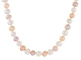 Multi-Color Cultured Freshwater Pearl Rhodium Over Silver Necklace 10-11mm