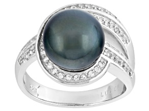 Cultured Tahitian Pearl With Topaz Rhodium Over Sterling Silver Ring 10-11mm