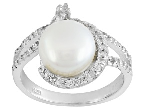 White Cultured Freshwater Pearl With Topaz Rhodium Over Silver Ring 9-10mm