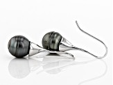 Cultured Tahitian Pearl Rhodium Over Sterling Silver Earring 11-12mm