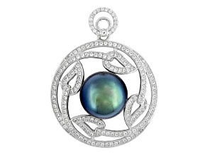 Cultured Tahitian Pearl With Topaz Rhodium Over Silver Pendant 12-13mm