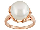 White Cultured South Sea Pearl 18k Rose Gold Over Sterling Silver Ring 11mm