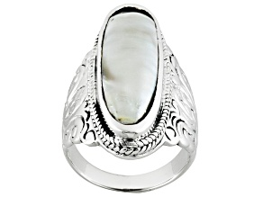 Gray Cultured Freshwater Pearl Rhodium Over Sterling Silver Ring