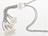 Cultured Freshwater Pearl Rhodium Over Sterling Silver Tassle Necklace 6-9mm