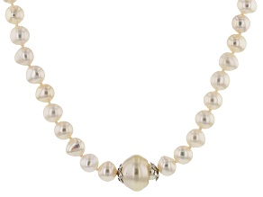 Cultured Freshwater Pearl And South Sea Pearl Rhodium Over Silver Necklace