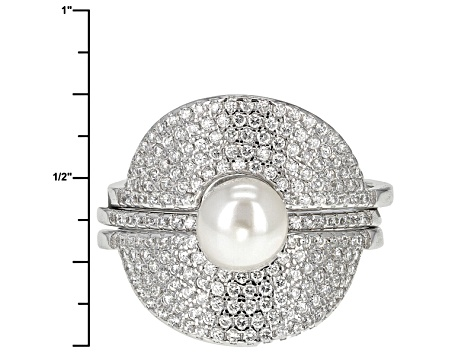 Cultured Freshwater Pearl With Diamond Simulant Rhodium Over Silver Ring 6-7mm